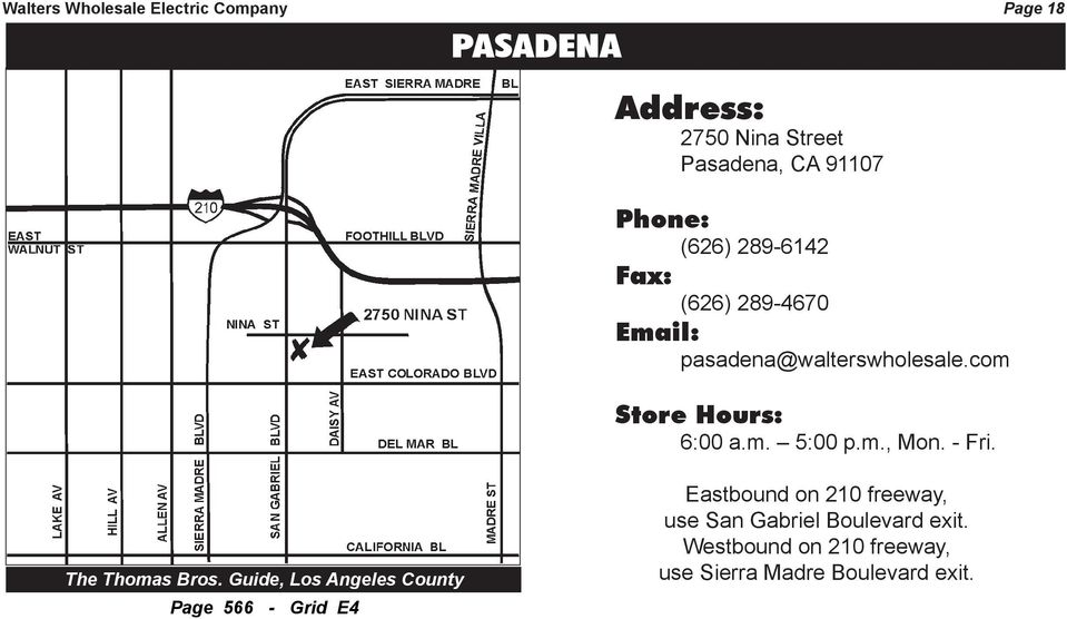 Guide, Los Angeles County Page 566 - Grid E4 Eastbound on 210 freeway,