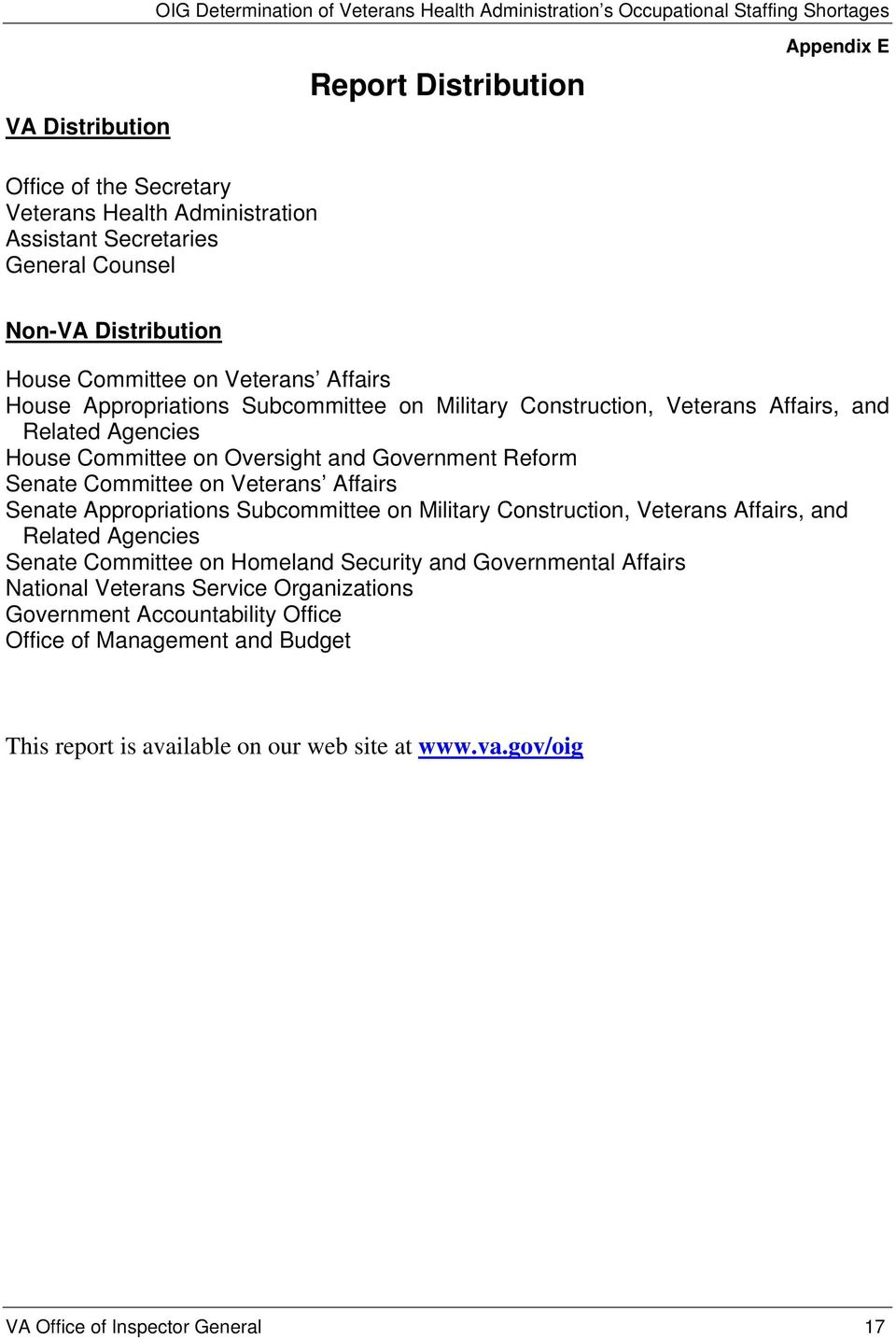 on Veterans Affairs Senate Appropriations Subcommittee on Military Construction, Veterans Affairs, and Related Agencies Senate Committee on Homeland Security and Governmental Affairs