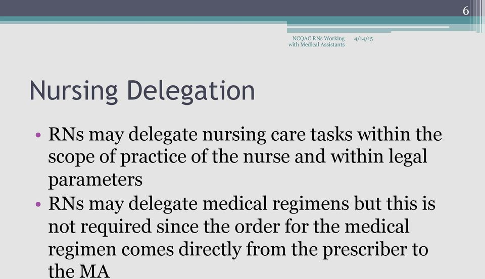 delegate medical regimens but this is not required since the order