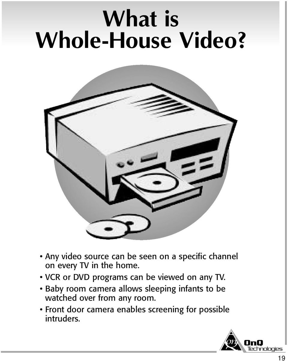 home. VCR or DVD programs can be viewed on any TV.