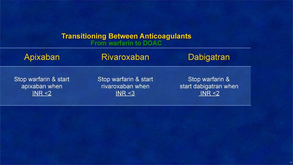 start apixaban when INR <2 Stop warfarin & start
