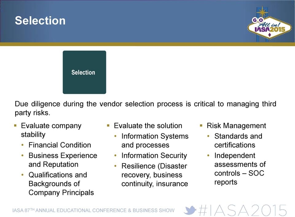 Company Principals Evaluate the solution Information Systems and processes Information Security Resilience (Disaster
