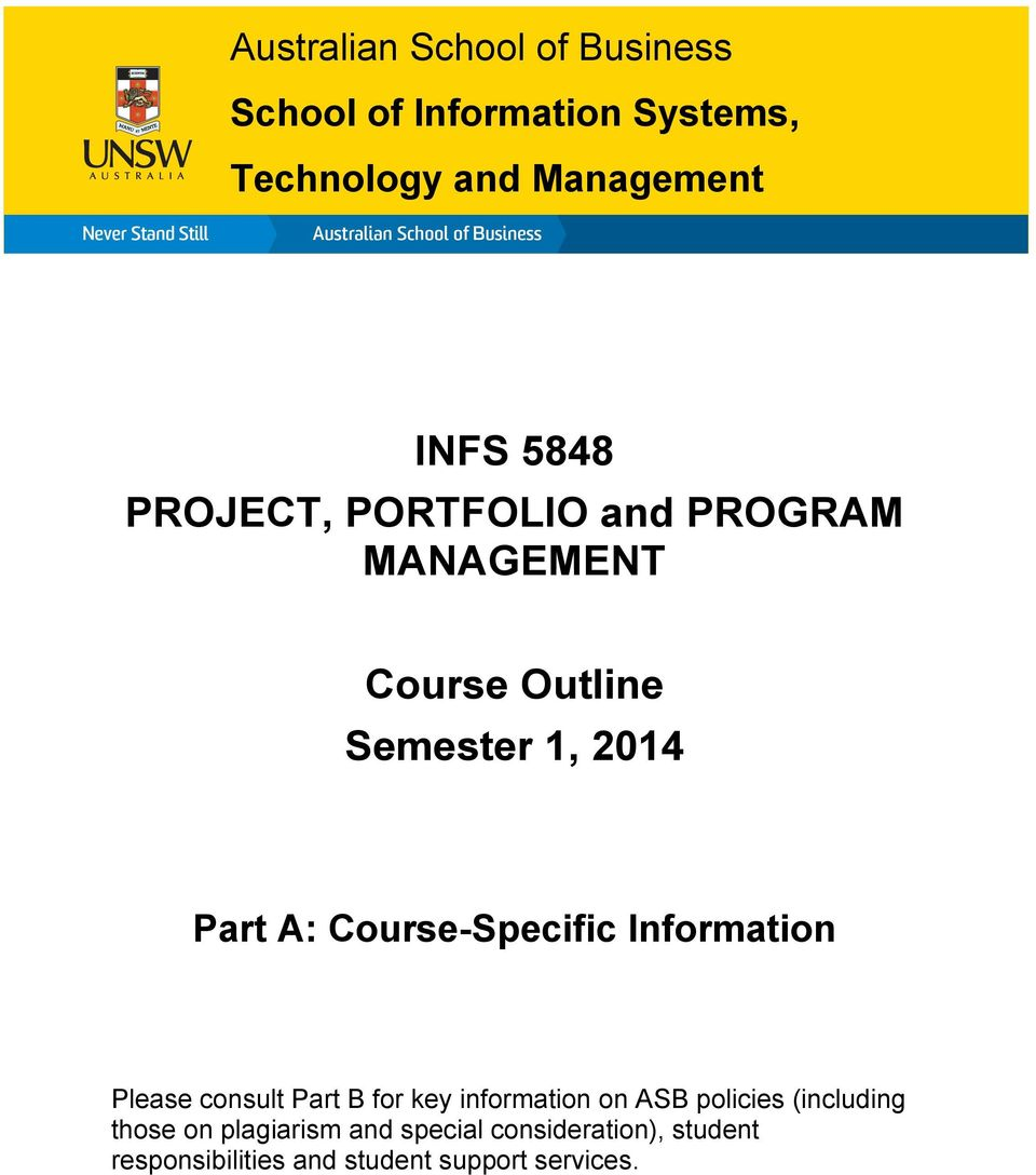 Course-Specific Information Please consult Part B for key information on ASB policies