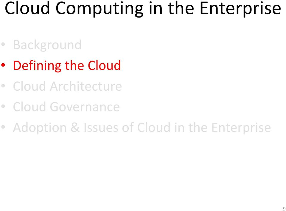 Architecture Cloud Governance