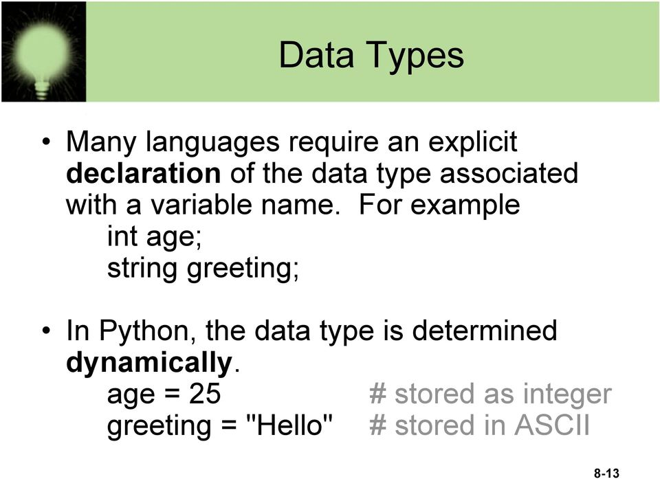 For example int age; string greeting; In Python, the data type is