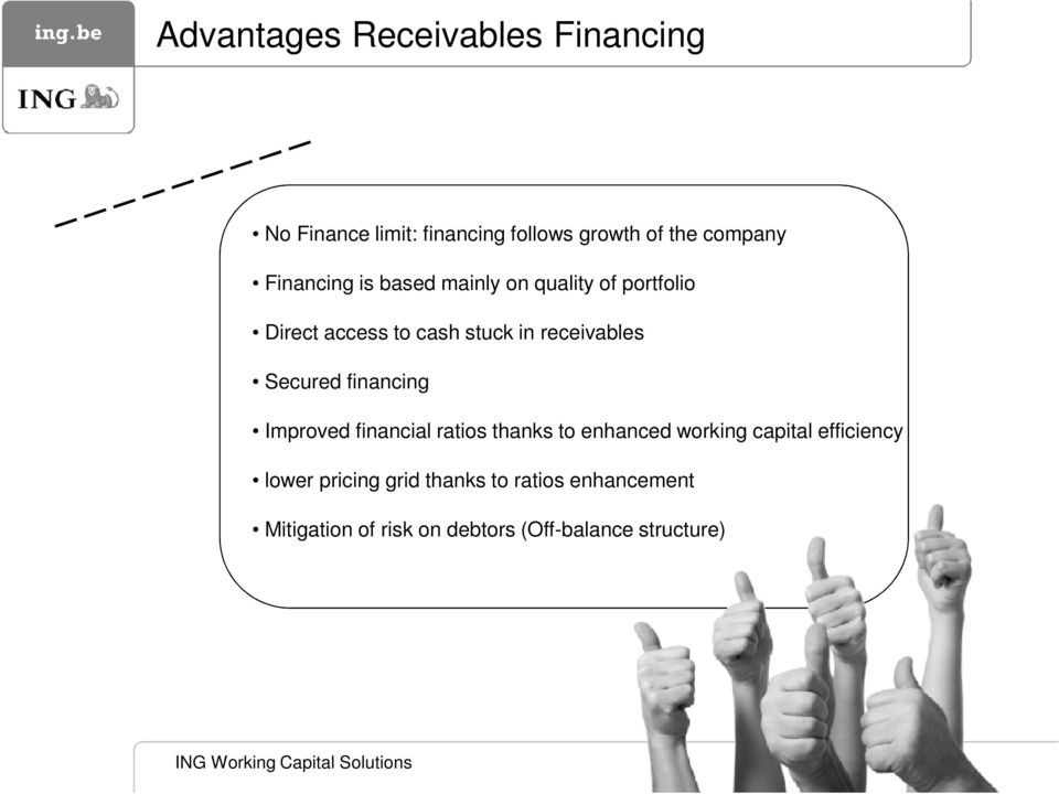 Secured financing Improved financial ratios thanks to enhanced working capital efficiency