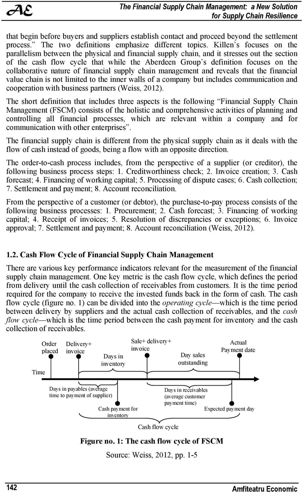Killen s focuses on the parallelism between the physical and financial supply chain, and it stresses out the section of the cash flow cycle that while the Aberdeen Group s definition focuses on the