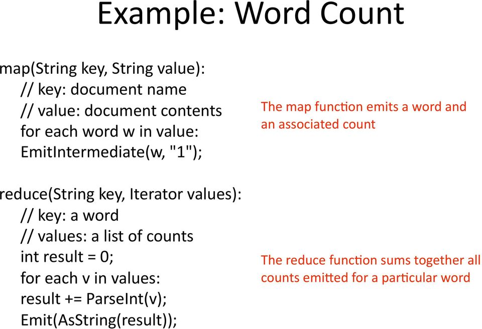 list of counts int result = 0; for each v in values: result += ParseInt(v); Emit(AsString(result)); The map
