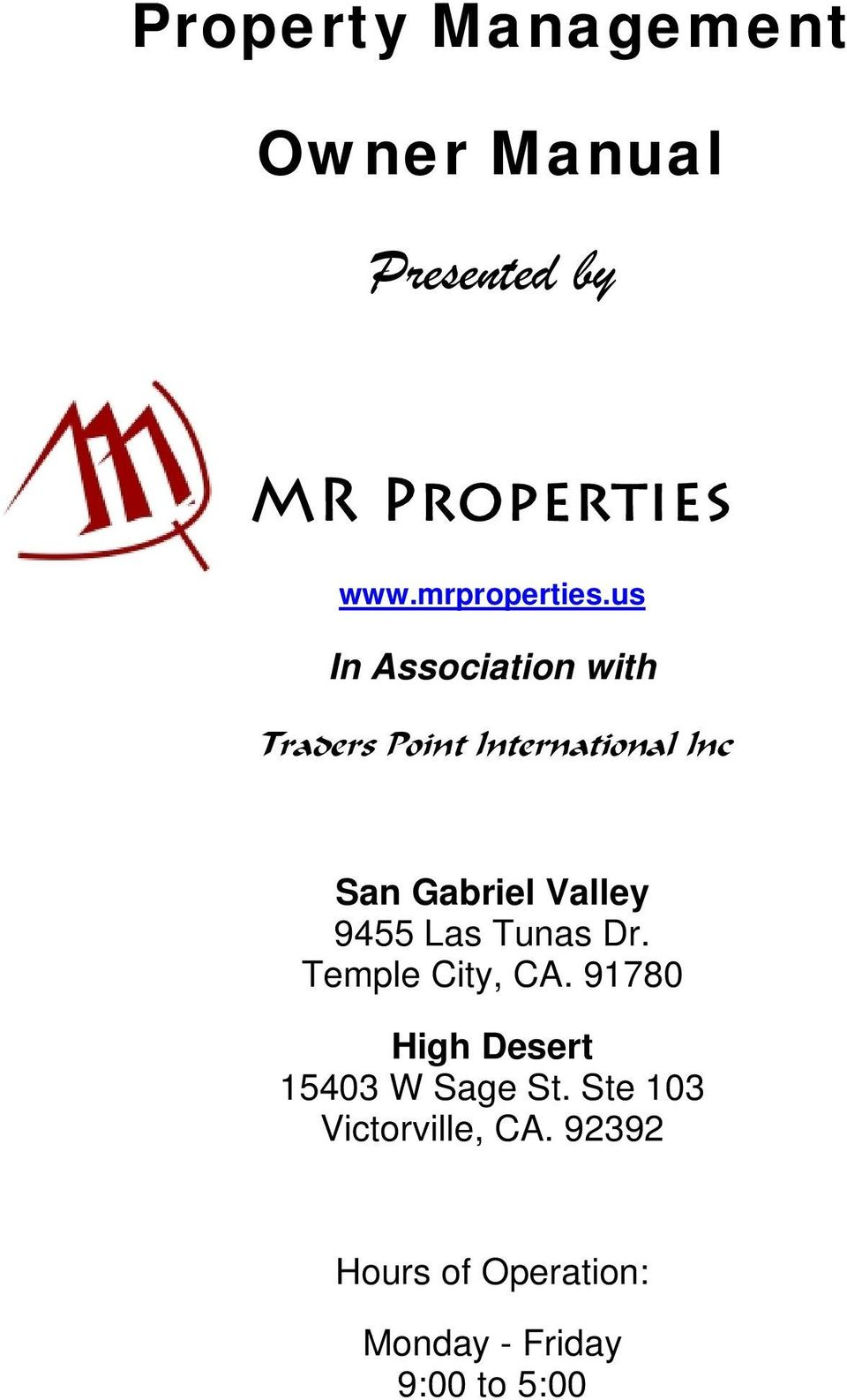 us In Association with Traders Point International Inc San Gabriel Valley