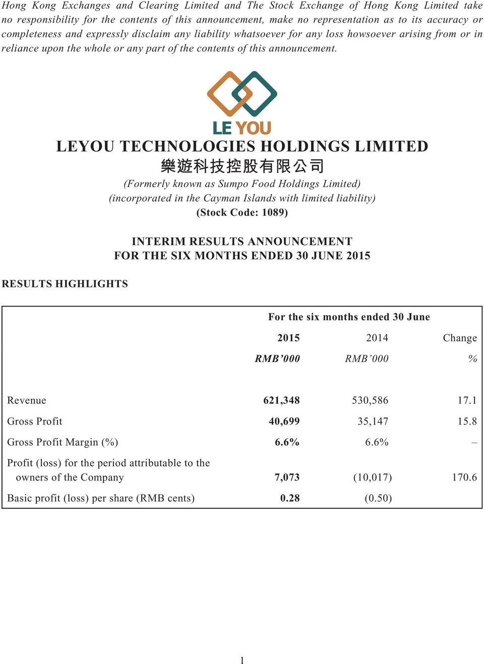 LEYOU TECHNOLOGIES HOLDINGS LIMITED (Formerly known as Sumpo Food Holdings Limited) (incorporated in the Cayman Islands with limited liability) (Stock Code: 1089) RESULTS HIGHLIGHTS INTERIM RESULTS