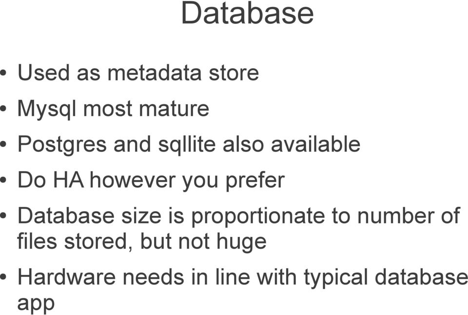 prefer Database size is proportionate to number of files