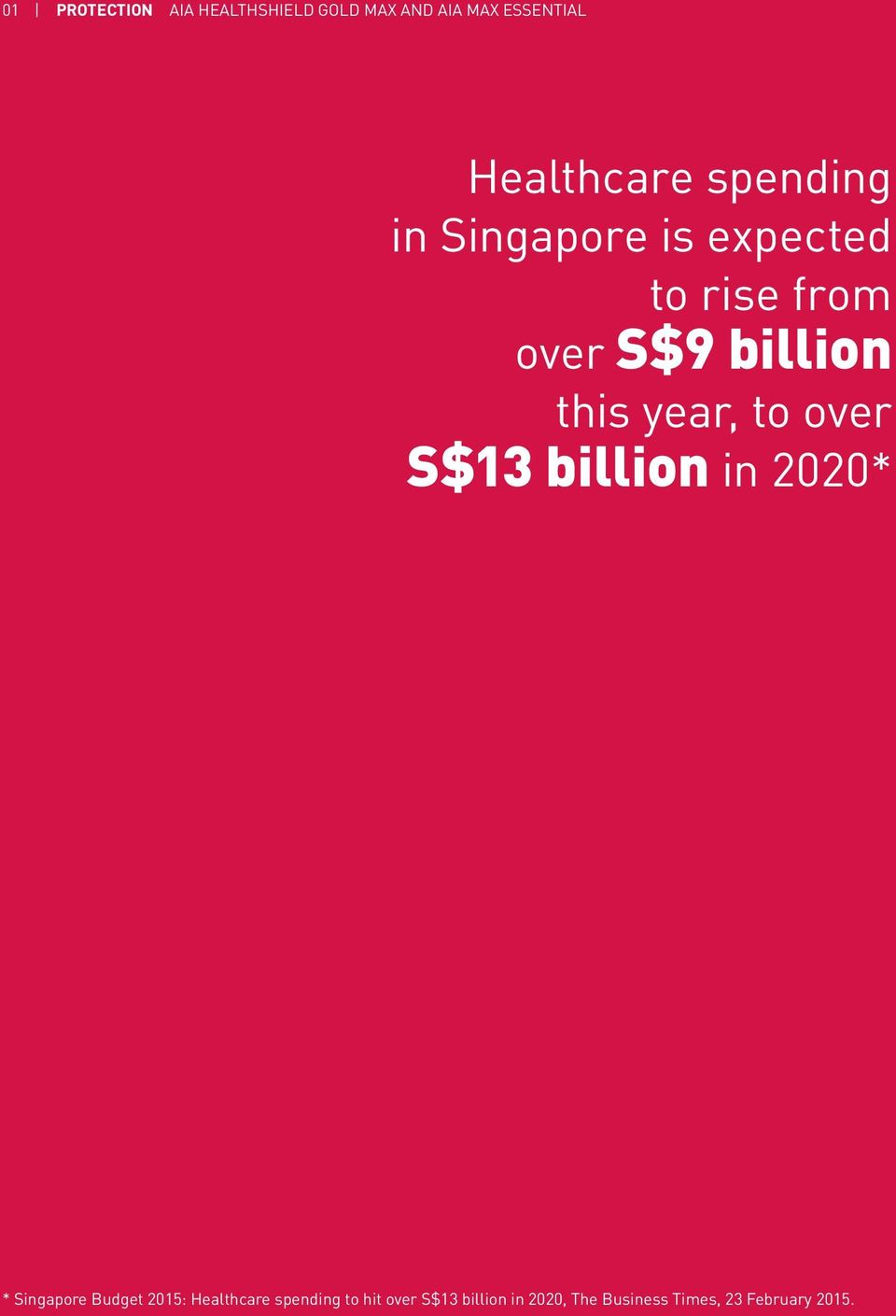 year, to over S$13 billion in 2020* * Singapore Budget 2015: Healthcare
