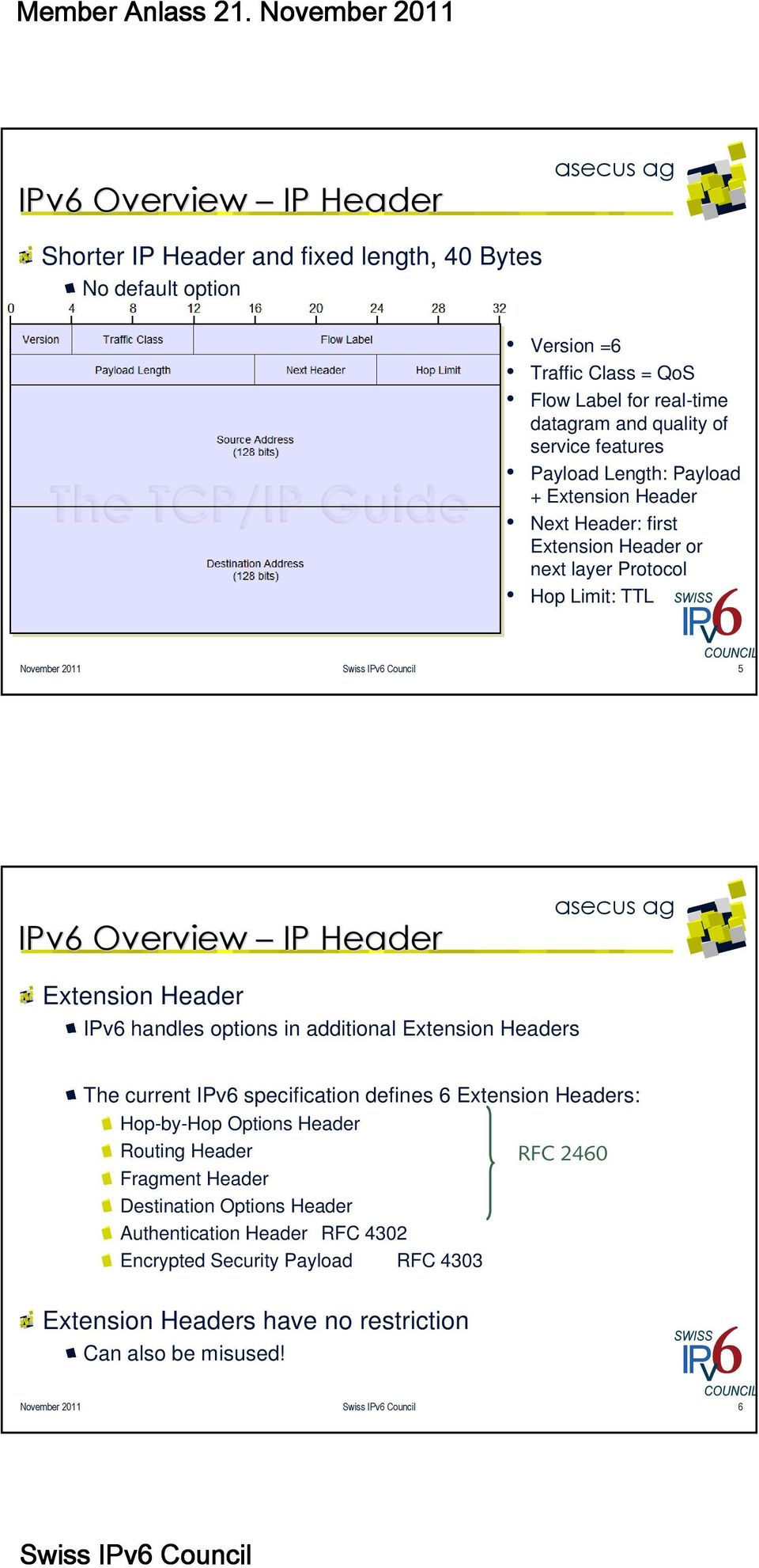 Header IPv6 handles options in additional Extension Headers The current IPv6 specification defines 6 Extension Headers: Hop-by-Hop Options Header Routing Header RFC 2460