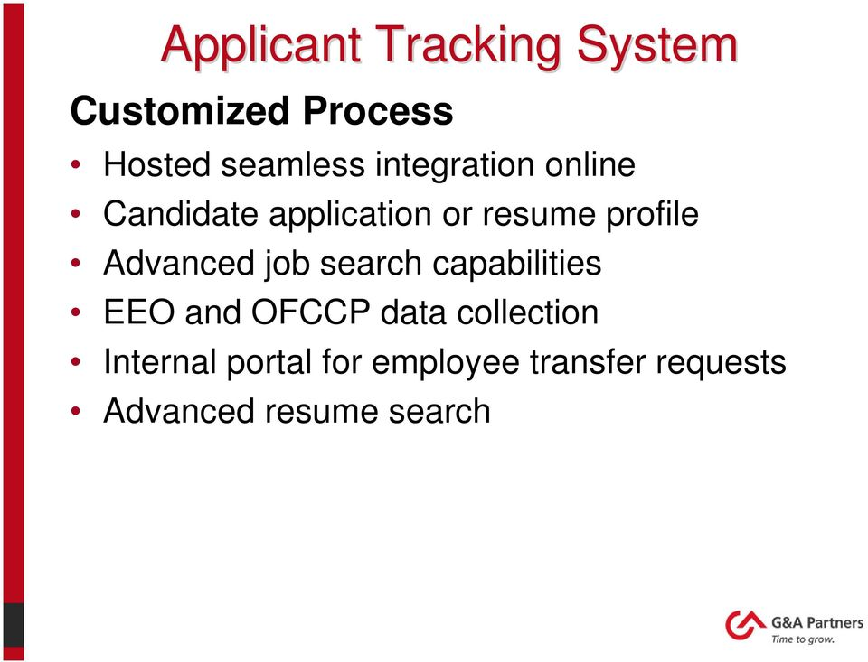 Advanced job search capabilities EEO and OFCCP data collection