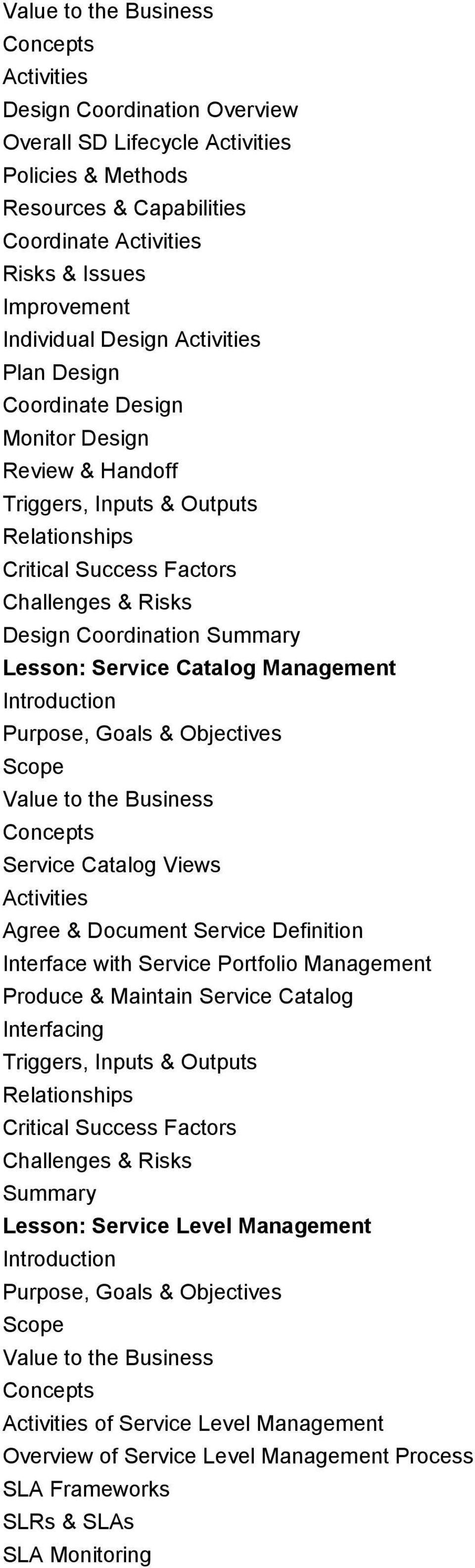 Catalog Views Agree & Document Service Definition Interface with Service Portfolio Management Produce & Maintain Service Catalog Interfacing