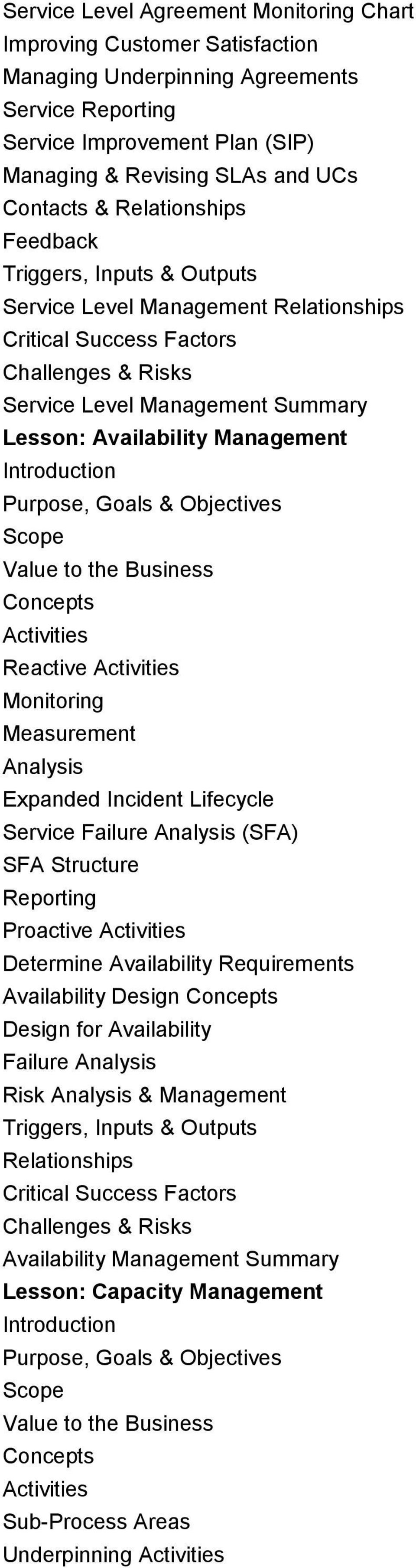 Monitoring Measurement Analysis Expanded Incident Lifecycle Service Failure Analysis (SFA) SFA Structure Reporting Proactive Determine Availability Requirements