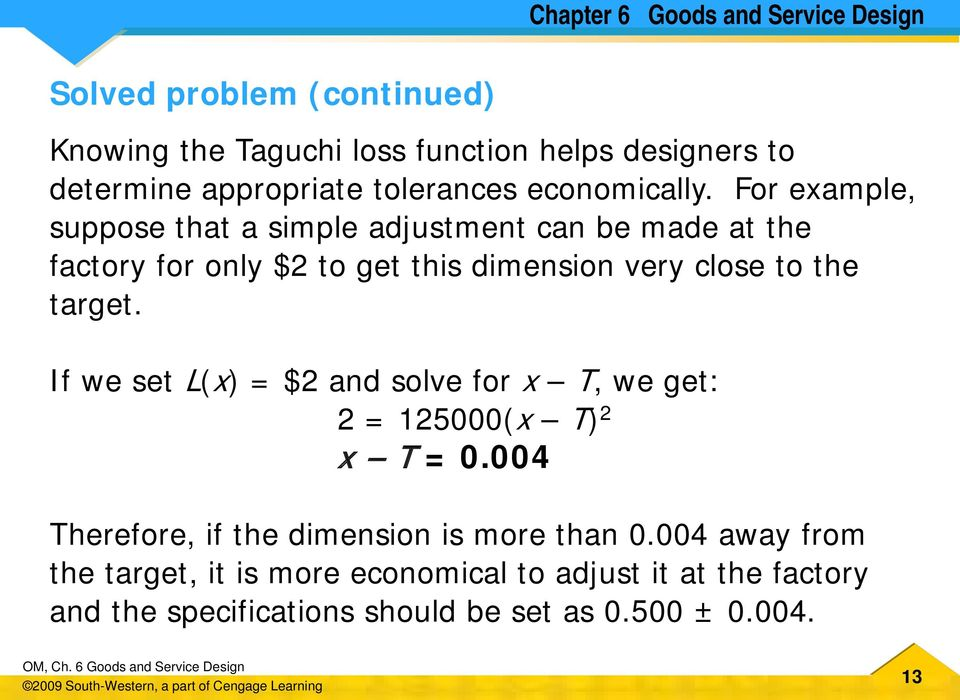 target. If we set L(x) = $2 and solve for x T, we get: 2 = 125000(x T) 2 x T = 0.004 Therefore, if the dimension is more than 0.