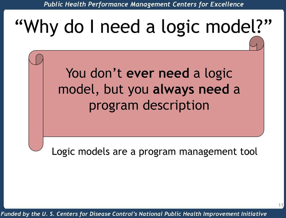 You don t ever need a logic model, but you always need a program description