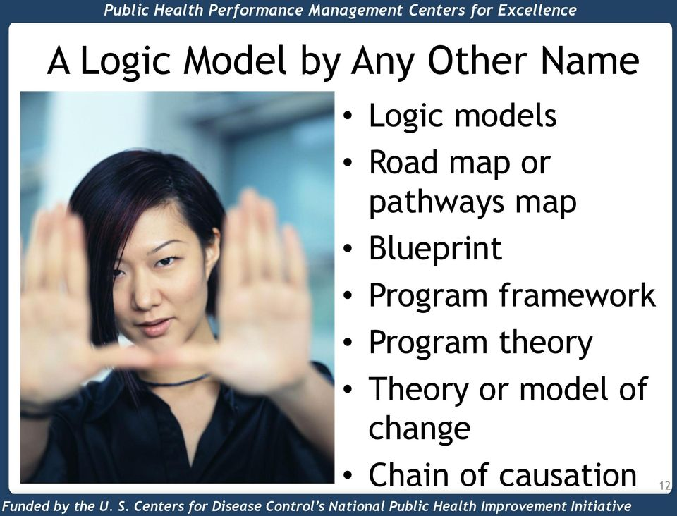 framework Program theory Theory or model of change Chain of causation Funded