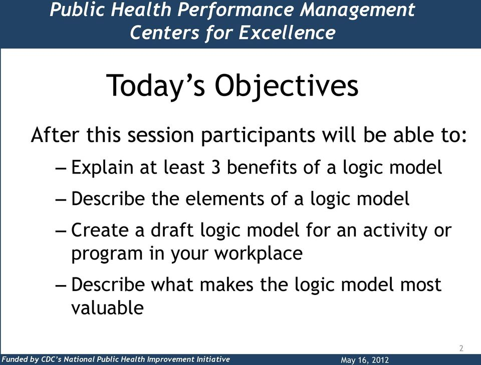 a logic model Create a draft logic model for an activity or program in your workplace Describe what