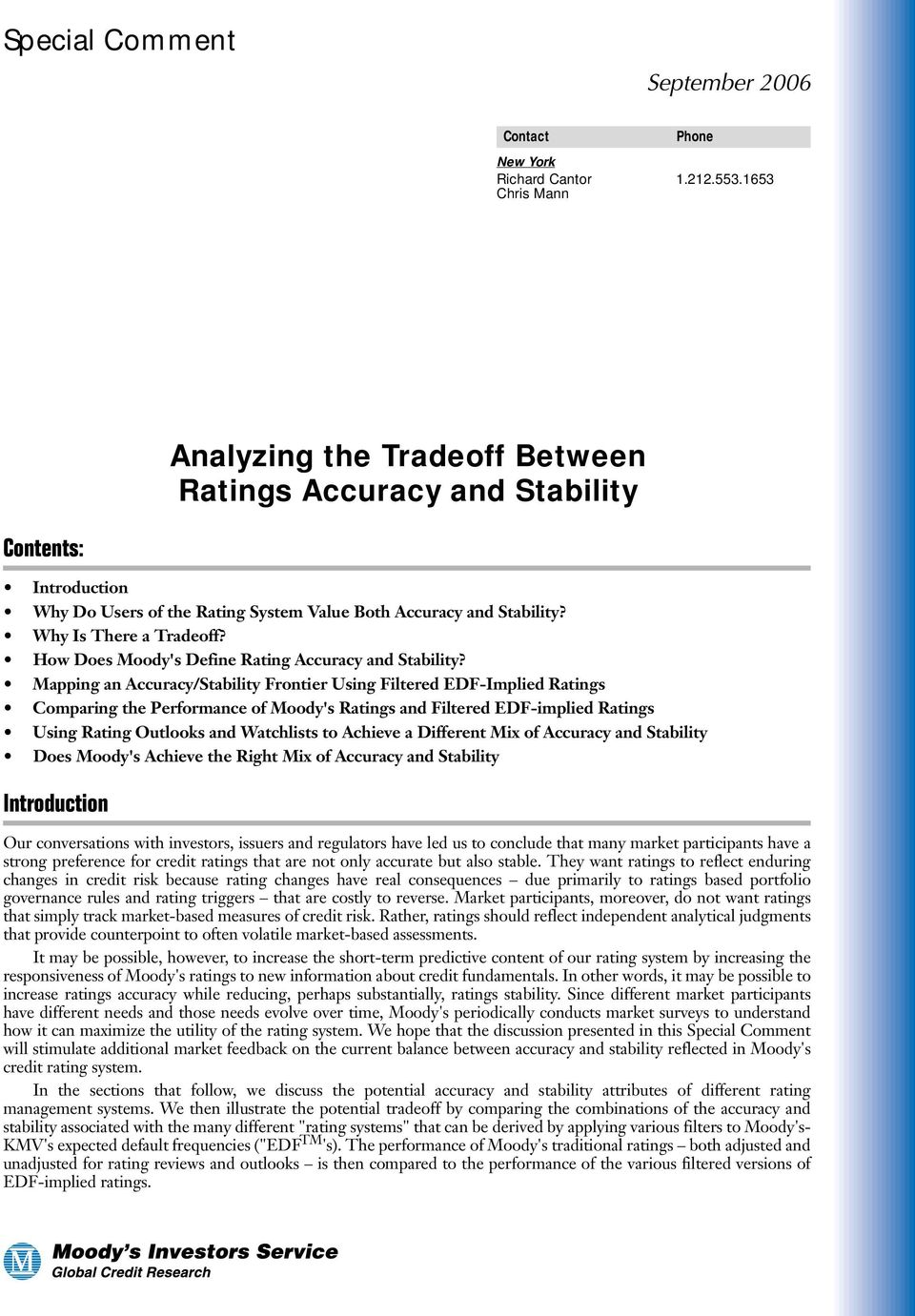 How Does Moody's Define Rating Accuracy and Stability?