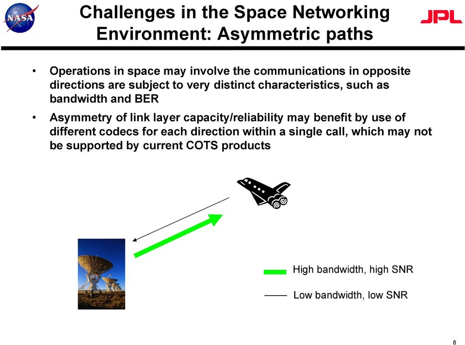 Asymmetry of link layer capacity/reliability may benefit by use of different codecs for each direction within