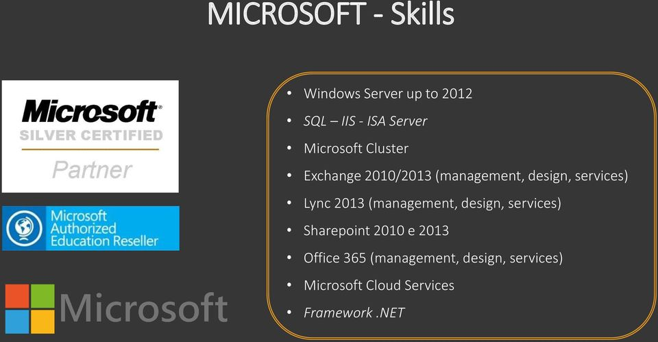 Lync 2013 (management, design, services) Sharepoint 2010 e 2013