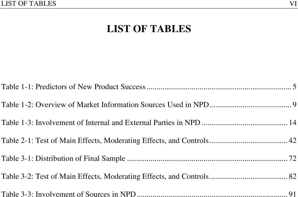 .. 9 Table 1-3: Involvement of Internal and External Parties in NPD.