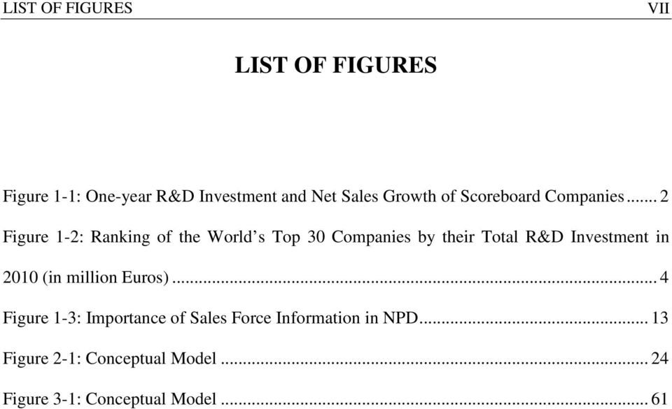 .. 2 Figure 1-2: Ranking of the World s Top 30 Companies by their Total R&D Investment in