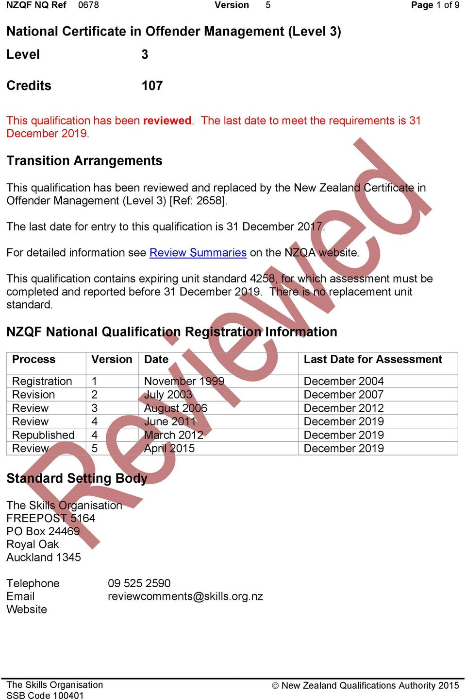 Transition Arrangements This qualification has been reviewed and replaced by the New Zealand Certificate in Offender Management (Level 3) [Ref: 2658].