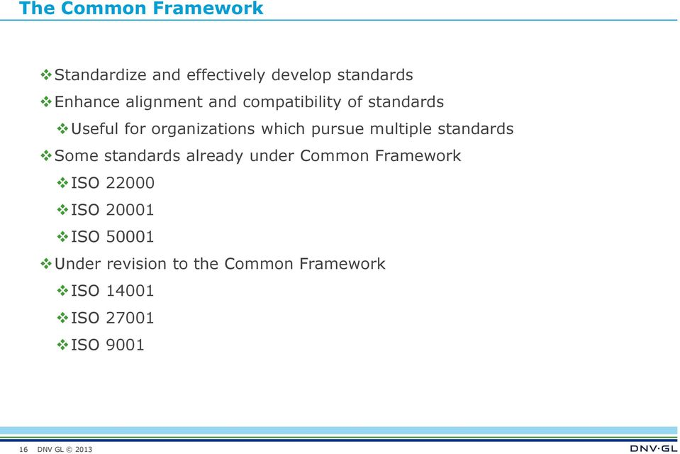 multiple standards Some standards already under Common Framework ISO 22000 ISO