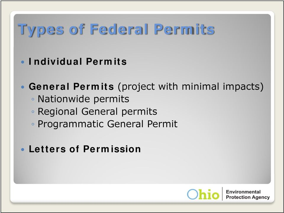 impacts) Nationwide permits Regional General