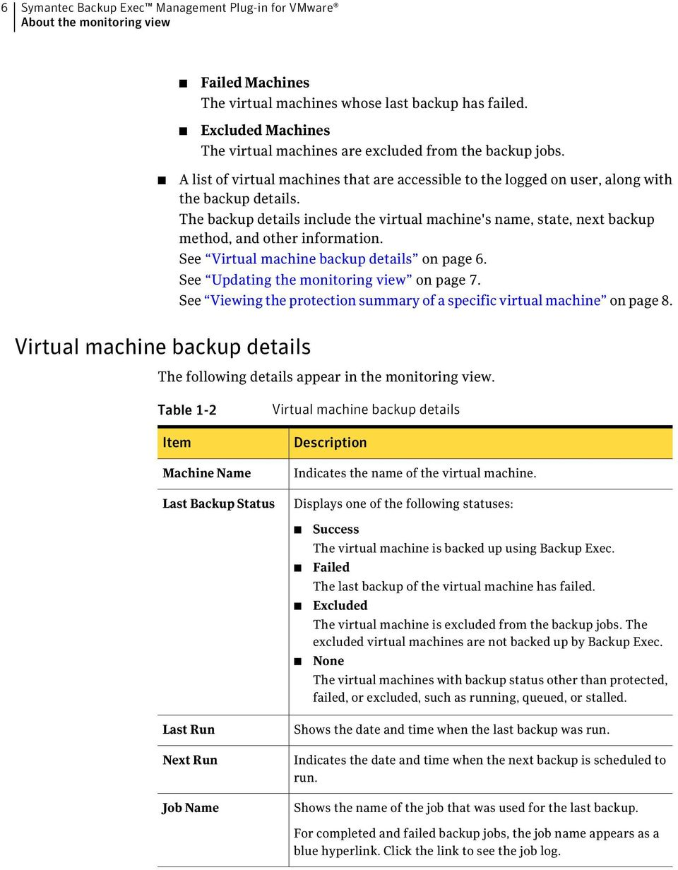 The backup details include the virtual machine's name, state, next backup method, and other information. See Virtual machine backup details on page 6. See Updating the monitoring view on page 7.