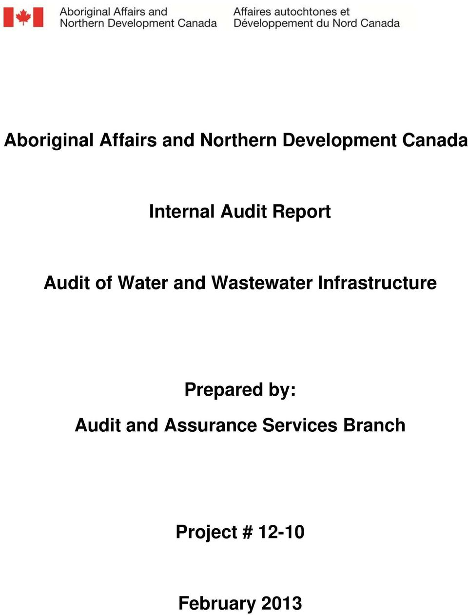 Wastewater Infrastructure Prepared by: Audit and