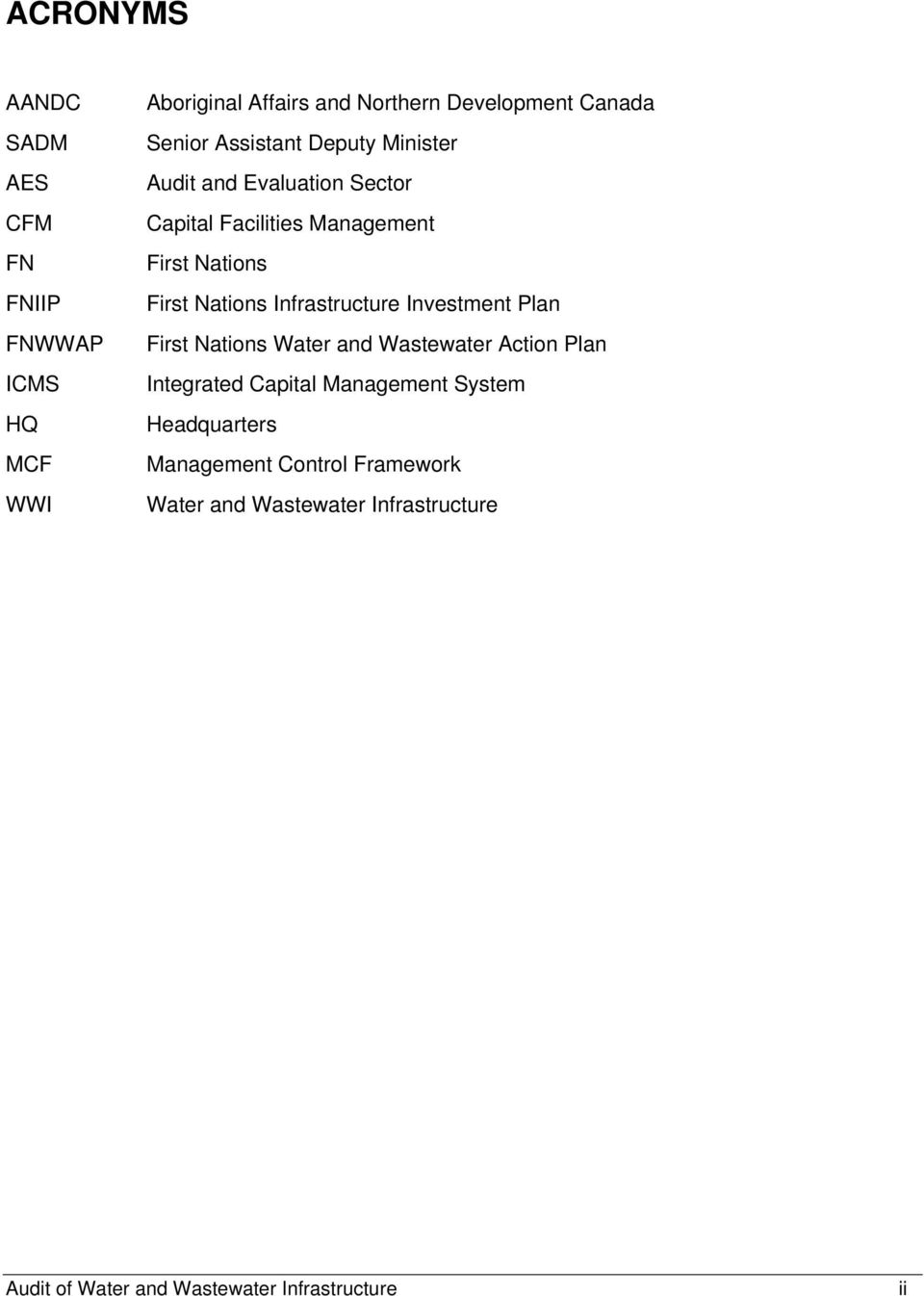 Infrastructure Investment Plan First Nations Water and Wastewater Action Plan Integrated Capital Management System