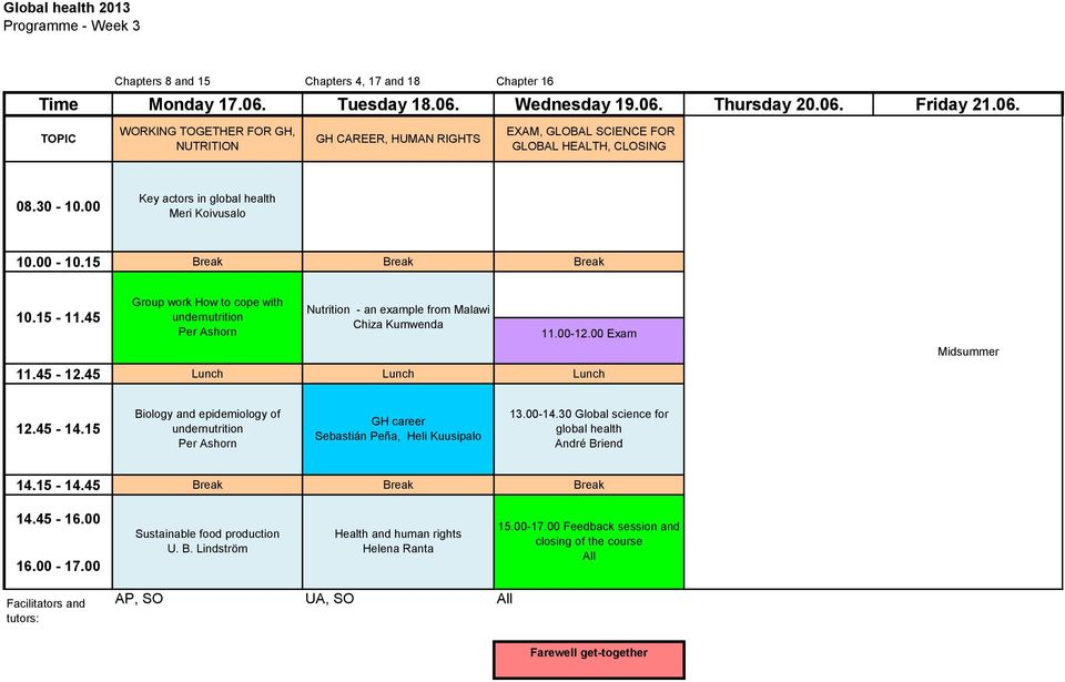 00 Exam 11.45-12.45 Lunch Lunch Lunch Midsummer 12.45-14.15 Biology and epidemiology of undernutrition GH career Sebastián Peña, Heli Kuusipalo 13.00-14.