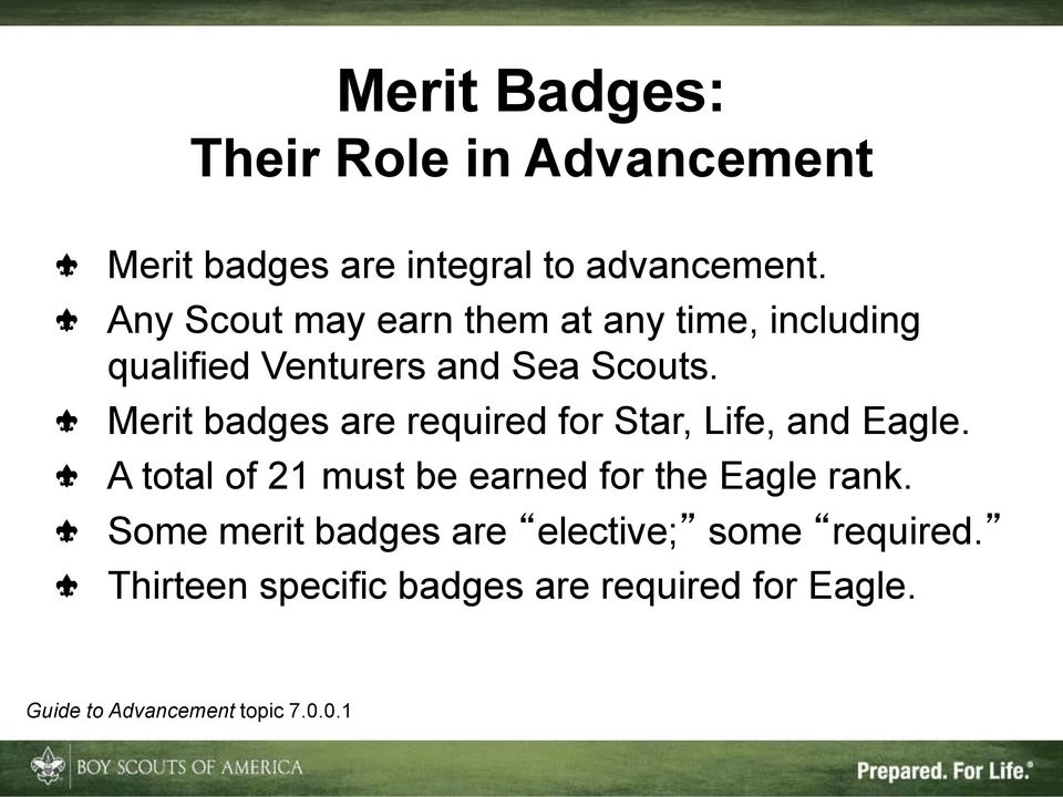 Merit badges are required for Star, Life, and Eagle.