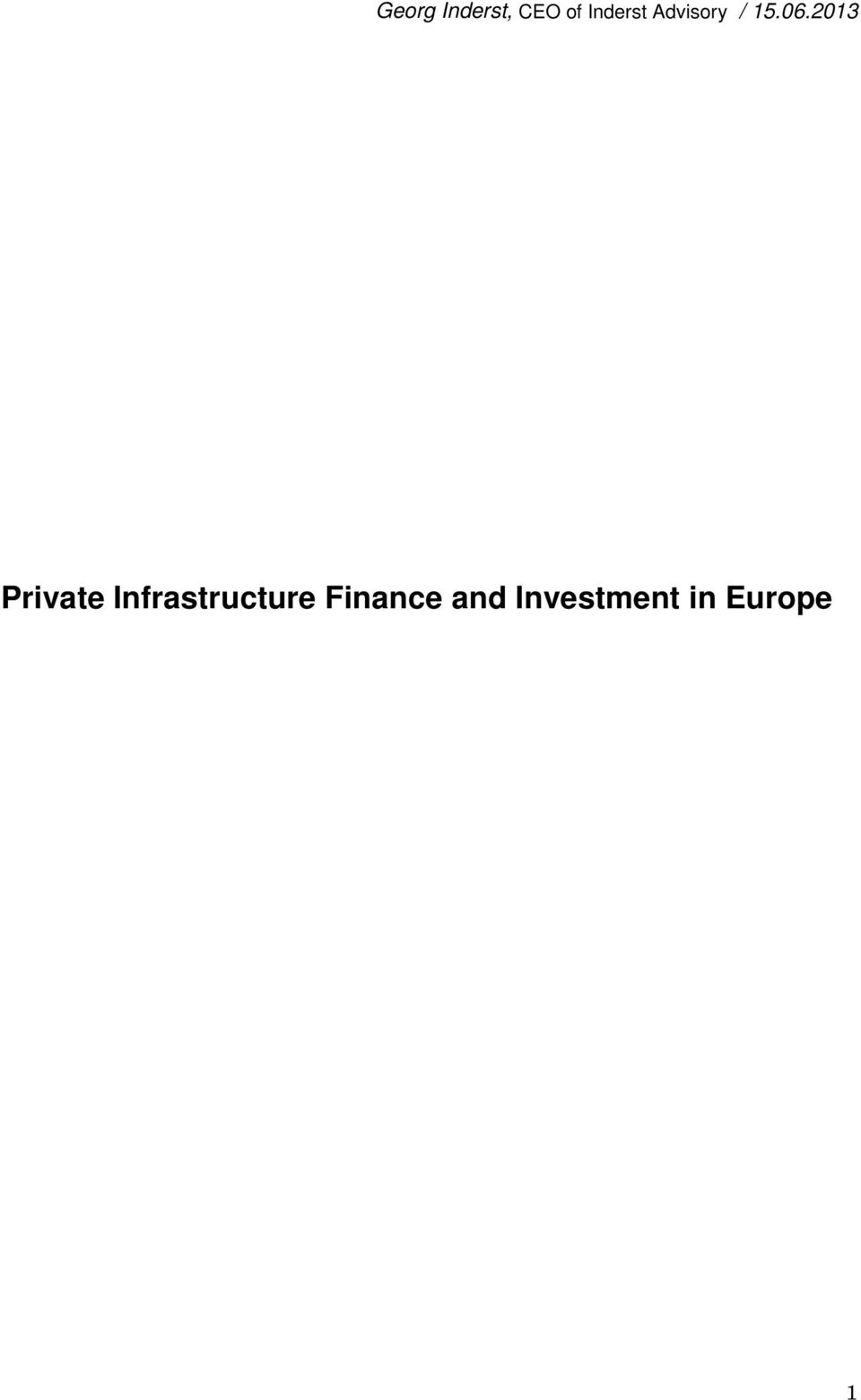 2013 Private Infrastructure