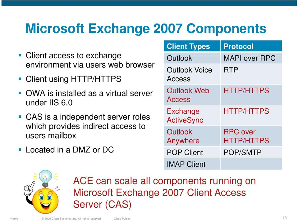 0 CAS is a independent server roles which provides indirect access to users mailbox Located in a DMZ or DC Client Types Protocol Outlook MAPI