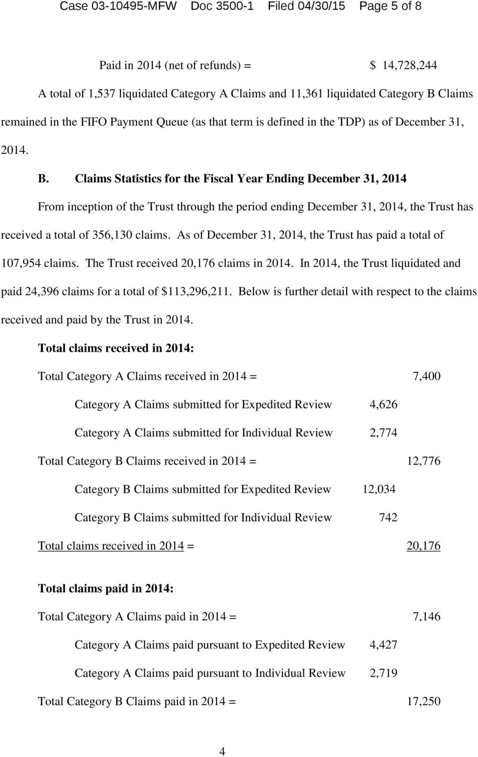 Claims Statistics for the Fiscal Year Ending December 31, 2014 From inception of the Trust through the period ending December 31, 2014, the Trust has received a total of 356,130 claims.