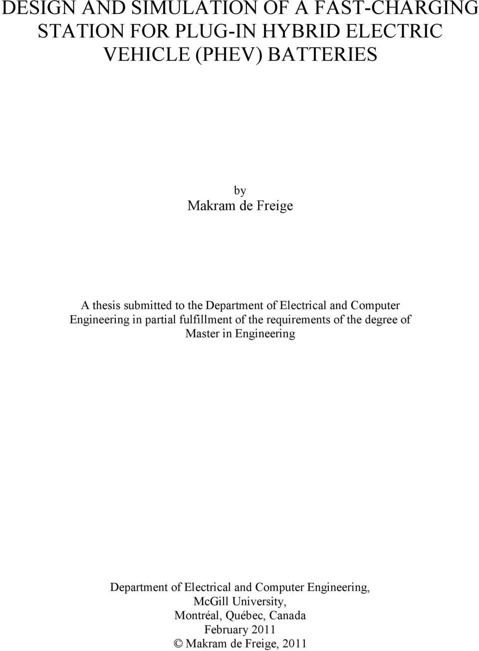 Design And Simulation Of A Fast Charging Station For Plug In Hybrid Solar Cell Powered Supercapacitor Charger With Strange Output Voltage Partial Fulfillment The Requirements Degree Master Engineering Department
