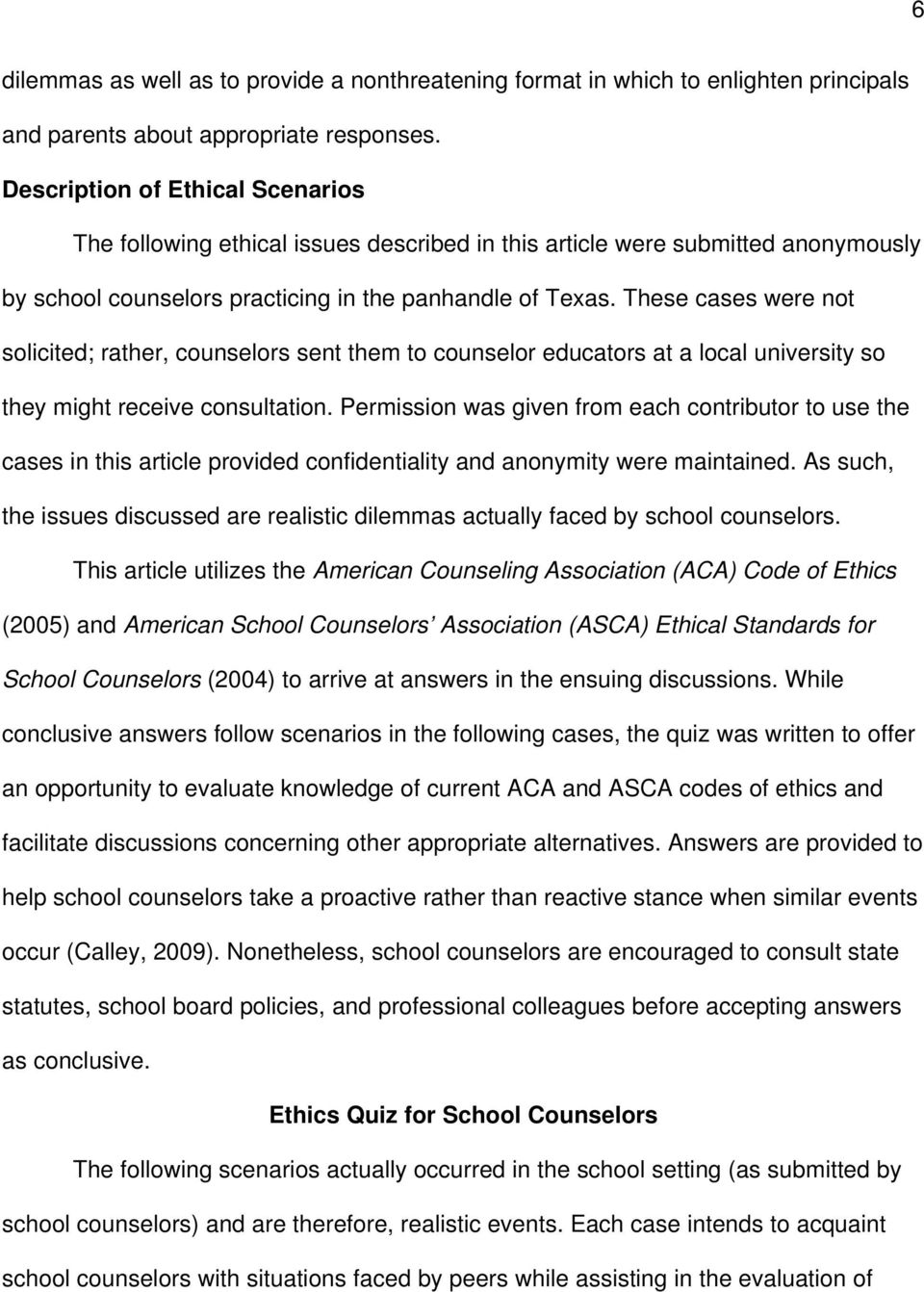 ethical dilemmas for school counselors