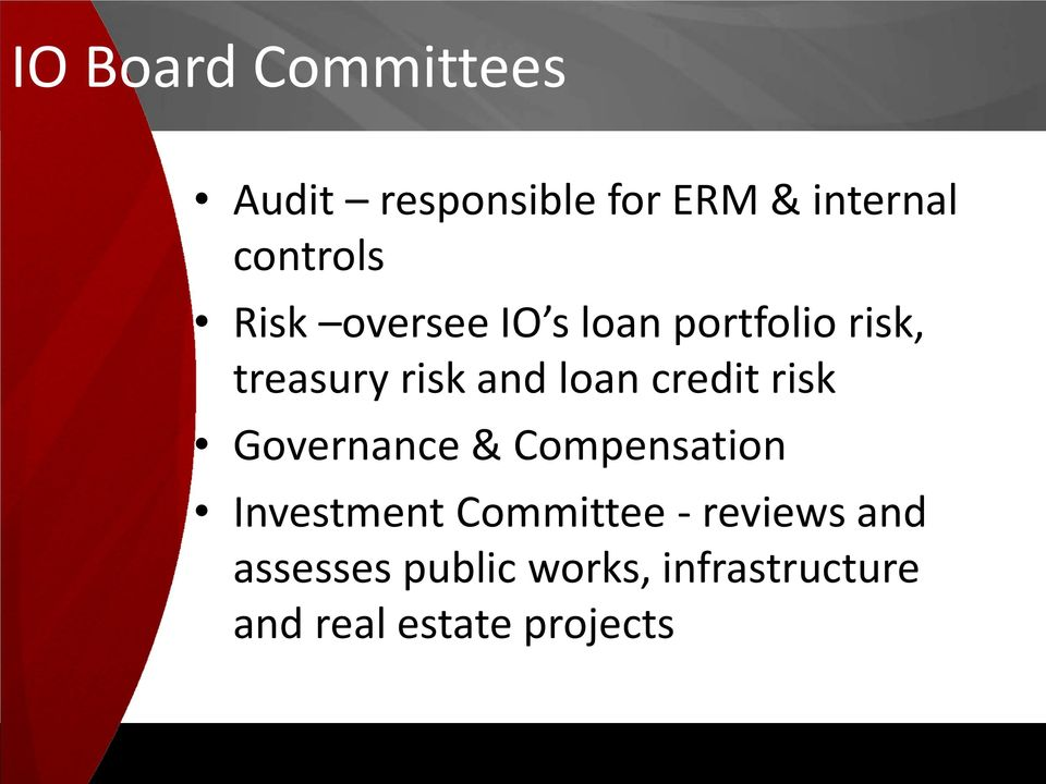 credit risk Governance & Compensation Investment Committee -