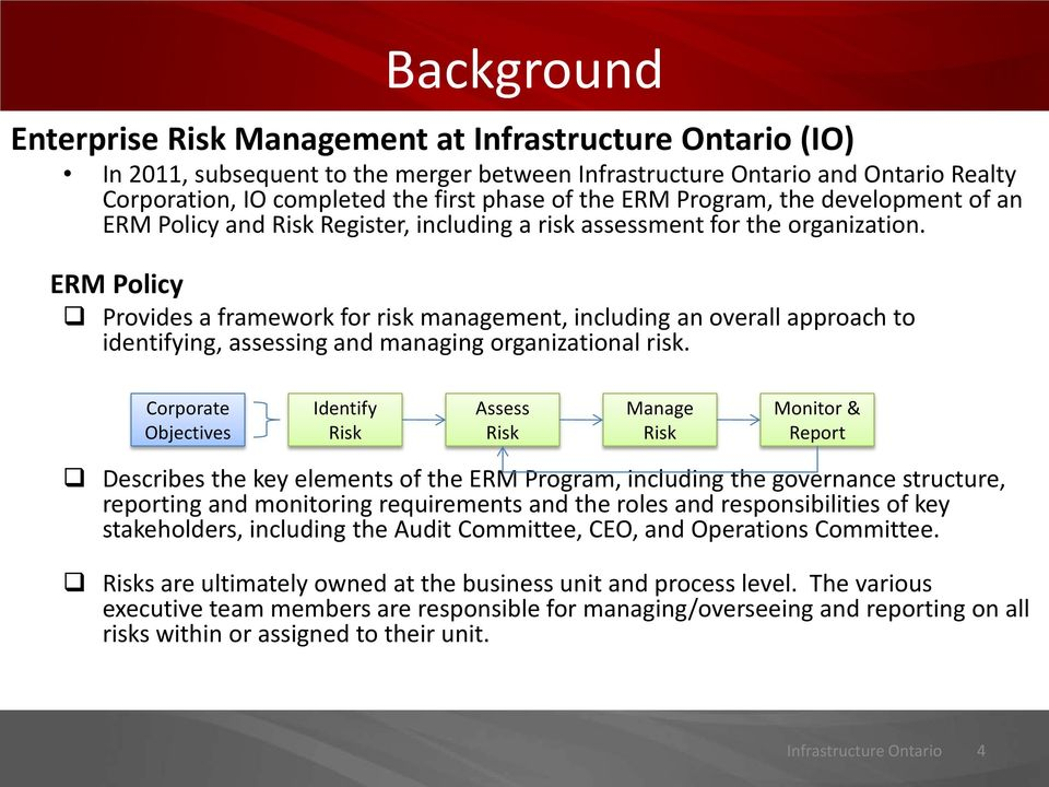 ERM Policy Provides a framework for risk management, including an overall approach to identifying, assessing and managing organizational risk.