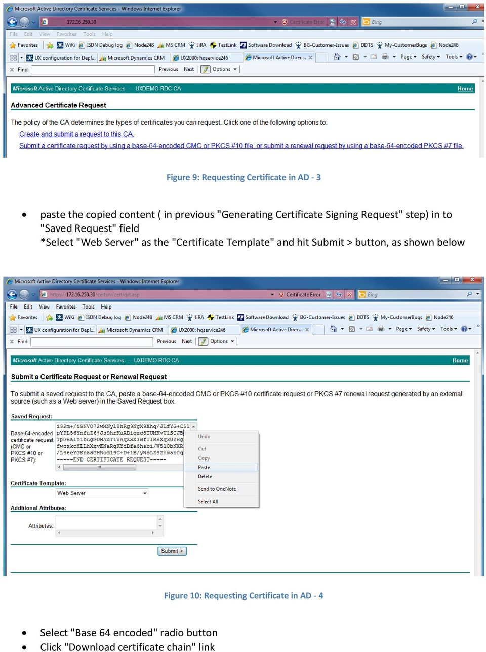 "Server"" as the ""Certificate Template"" and hit Submit > button, as shown below Figure 10:"