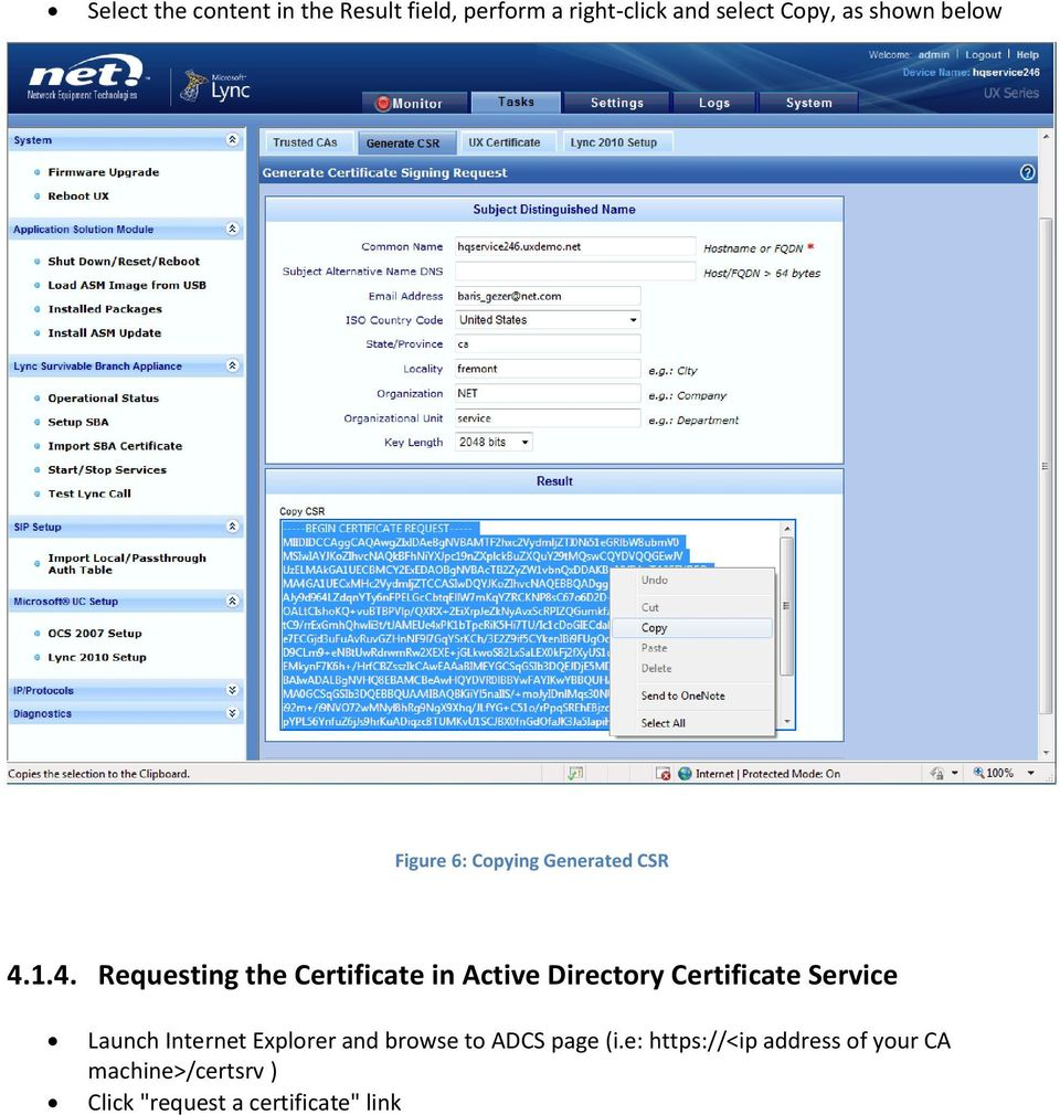 1.4. Requesting the Certificate in Active Directory Certificate Service Launch