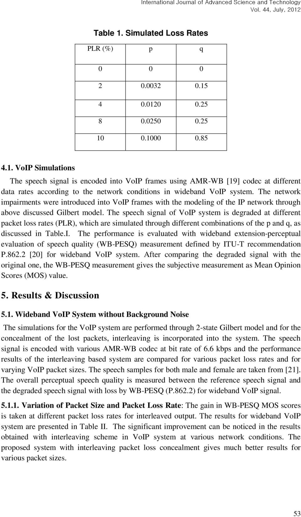 The speech signal of VoIP system is degraded at different packet loss rates (PLR), which are simulated through different combinations of the p and q, as discussed in Table.I. The performance is evaluated with wideband extension-perceptual evaluation of speech quality (WB-PESQ) measurement defined by ITU-T recommendation P.