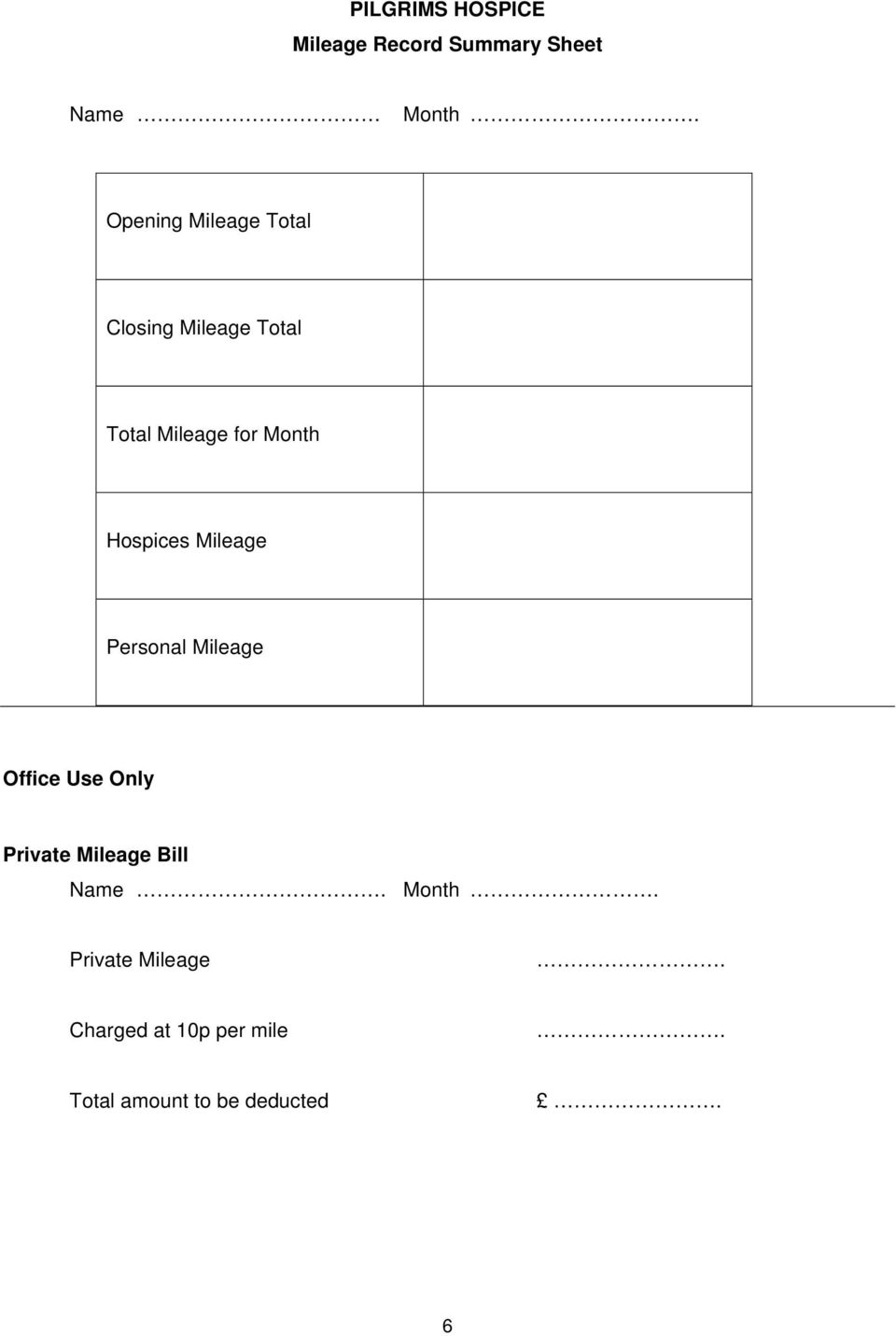 Hospices Mileage Personal Mileage Office Use Only Private Mileage Bill