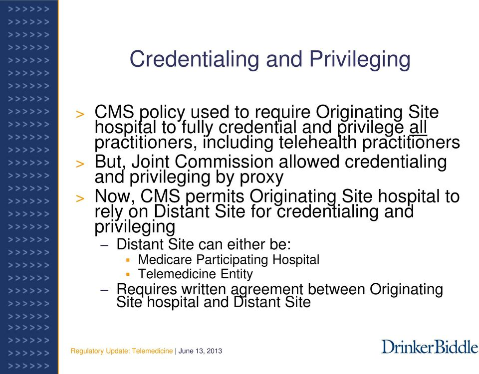 Now, CMS permits Originating Site hospital to rely on Distant Site for credentialing and privileging Distant Site can either