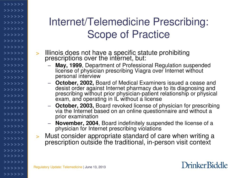 its diagnosing and prescribing without prior physician-patient relationship or physical exam, and operating in IL without a license October, 2003, Board revoked license of physician for prescribing